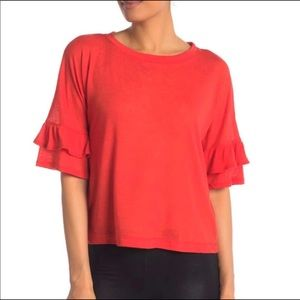 David Lerner Tiered Ruffle Bell Sleeve Top Size XS